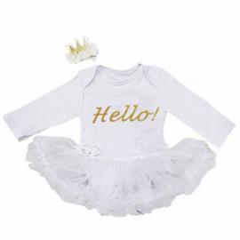 Babyjurk Hello! wit + haarclip kroon