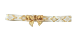 Haarband strik klein, wit/goud