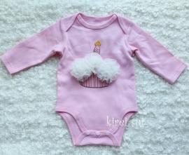Baby romper roze Cupcake ivoor lange mouw
