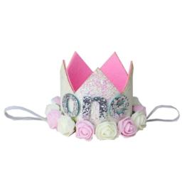 Haarband kroon one wit-roze