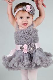 Feestelijke kinderjurk grijs+ haarband+ luxe riem