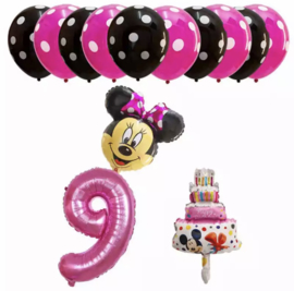 Minnie Mouse ballon set ROZE  9 jaar (13-delig)