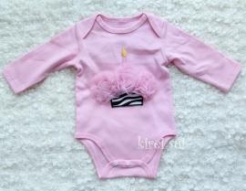 Baby romper roze Cupcake zebra roze lange mouw