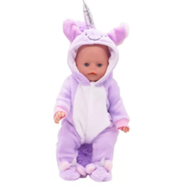 Unicorn baby poppen pakje paars