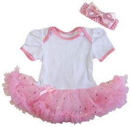 Babyjurk roze glitter korte mouw + haarband (mt 74)