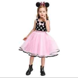 Minnie Mouse jurk roze/zwart stippen + diadeem
