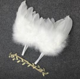 Newborn engelen vleugels wit+ haarband