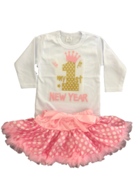 First New Year goud roze tutu stippen + haarband (3-delig)