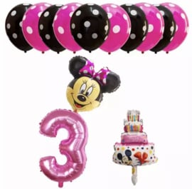 Minnie Mouse ballon 3 jaar (13-delig)