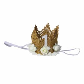 Haarband kroon goud kant/ivoor 1 jaar