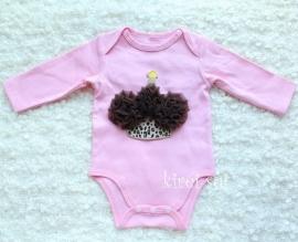 Baby romper roze Cupcake chocolade lange mouw