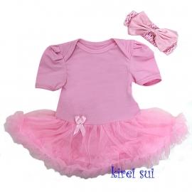 Babyjurk roze korte mouw + haarband (mt 74)