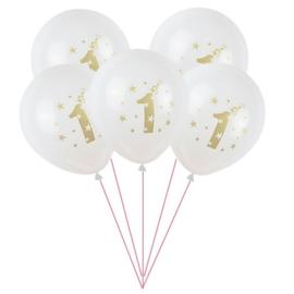 Verjaardag Ballonnen WIT - 5 stuks