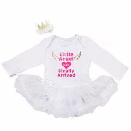 Babyjurk Little Angel Has Finally Arrived wit + haarclip kroon