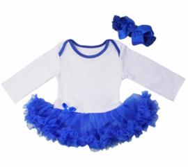 Babyjurk kobalt blauw longsleeve + haarband