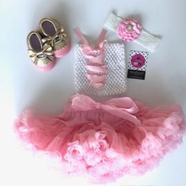 Babyset wit top-roze lint (4 delig)