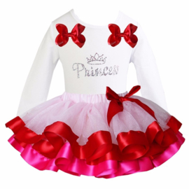 Tutu Satijn set Princess lang/korte mouw wit/pink