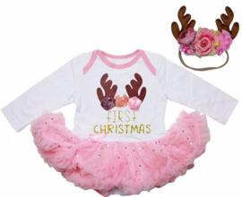 Babyjurk First Christmas, rendier roze, longsleeve + haarband rendier
