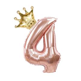 Folie Ballon Kroon + cijfer 4 - goud met rosé goud