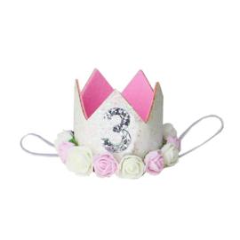 Haarband kroon 3 jaar wit