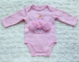 Baby romper roze Cupcake stippen roze lange mouw