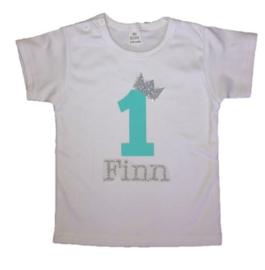 Shirt jongen getal 1 t/m 5 mint-zilver met naam