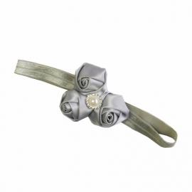 Haarband Zilvergrijs rozen met parel
