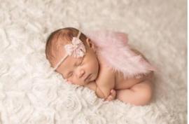 Newborn engelen vleugels zacht roze + haarband kant strik