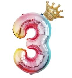 Folie Ballon met kroon + cijfer 3 - regenboog