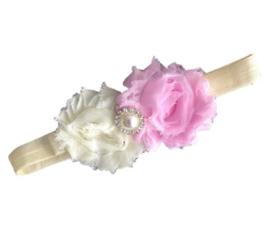 Haarband bloemen ROZE/CREME