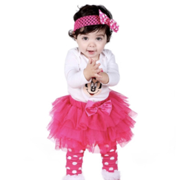 Minnie Mouse pink + beenwarmers (4-delig)