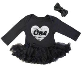 Baby  jurkje zwart,One hart zilver+haarband,lange/kort mouw