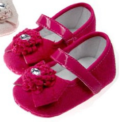 Balletschoen newborn PINK strik velvet