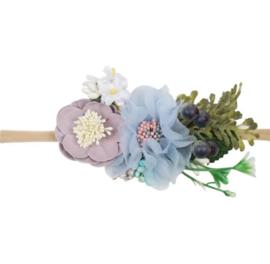 Haarband bloemen BLAUW DUSTY PINK
