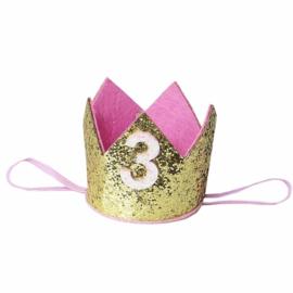 Haarband kroon goud glitter 3 jaar
