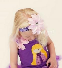 Haarband glitter paars roze bloem