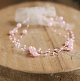 Baby haarband parels, roze