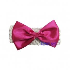 Haarband Wit strik pink