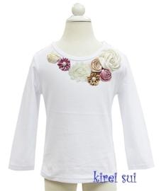 Shirt ivoor/stoffig paars satijnen rozen