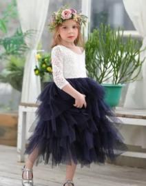 Lange romantisch jurk kant, lange mouw marineblauw