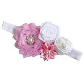 Haarband  Roze wit