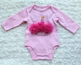 Baby romper roze Cupcake pink lange mouw