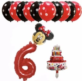 Minnie Mouse ballon set ROOD 6 jaar (13-delig)