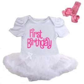 Baby  jurkje First Birthday korte mouw + haarband (74)