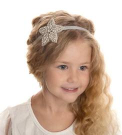 Haarband bloem steentjes zilver