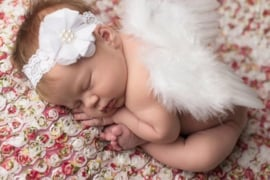Newborn engelen vleugels wit + haarband