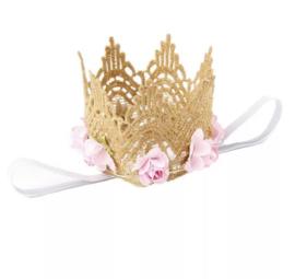 Haarkroon kant goud met bloem
