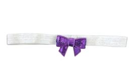 Haarband strik klein, zilver/paars