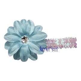 Haarband glitter lichtblauw bloem