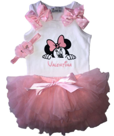 Minnie Mouse set tutu + naam (3-delig)